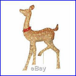 Christmas Buck Doe Sculpture Set Reindeer Deer Light Outdoor Yard Xmas Decor New