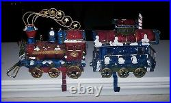 CHRISTMAS EXPRESS ENGINE & CABOOSE Metal Hand Painted Stocking HoldersNO FLAWS
