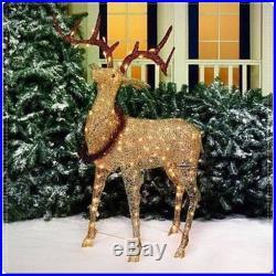 CHRISTMAS GLITTERING ELK LIGHT SCULPTURE DEER REINDEER OUTDOOR XMAS YARD DECOR