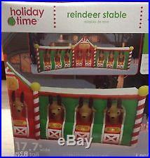 CHRISTMAS HUGE 17 FT SANTA REINDEER STABLE AIRBLOWN INFLATABLE GEMMY