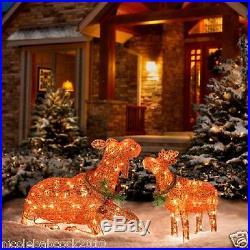 CHRISTMAS LIGHTED SANTA CLAUS HOLIDAY MOOSE SET OF 2 36 & 22 YARD DECOR