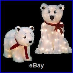 CHRISTMAS POLAR BEARS 24 SET OF 2 SANTA RED SCARF PROP YARD DECOR