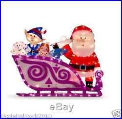 CHRISTMAS TINSEL SANTA CLAUS With SLEIGH, ISLE MISFIT TOYS YARD DECOR