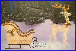 CHRISTMAS WHITE REINDEER AND SLEIGH LIGHTED GLITTER HOLIDAY WINTER YARD DECOR