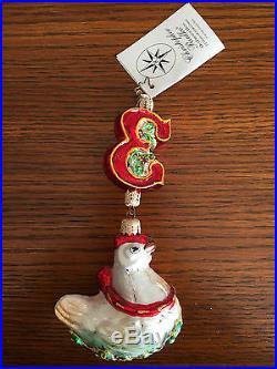 Christopher Radko 12 Days Of Christmas Ornament / 3 Three / Oui French Hens /nwt