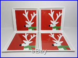 CRATE & BARREL RED CHRISTMAS REINDEER PORCELAIN TIDBIT PLATES SET OF FOUR (4)