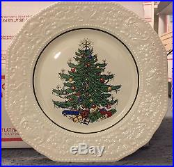 CUTHBERTSON DICKENS XMAS EMBOSSED LG DINNER PLATES 4pc 10 7/8. 20%off