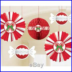 Candy Cane Honeycomb Hanging Paper Fans With Candy Cane Ceiling Decoration x 6