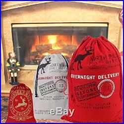 Canvas Santa Sack Merry Christmas Gift Bag Xmas Father Stocking Happy Large Bag