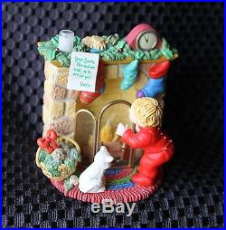Carlton Cards Is He Here Yet Lighted Ornament Kid Cat Fireplace #67 with Box