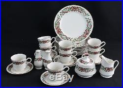 Centurion Collection RIBBON HOLLY Christmas Dishware 28 pc Set Green Red Gold