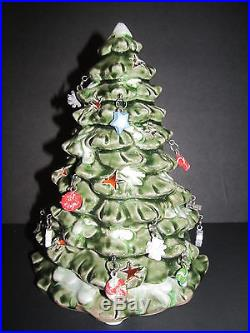 Ceramic Christmas Tree Tea Light Holder 8 1/2 Tall Hanging Ornaments Cut Outs