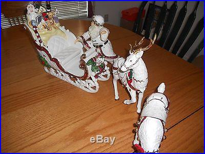 Ceramic Santa, Sleigh, and Reindeers