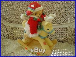 Cherished Teddies Musical Christmas Santa Bear On Reindeer Retired New