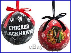 Chicago Blackhawks Light Up Ball Christmas Ornament Set Of 6