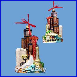 Chicago Illinois Cityscape Glass Christmas Tree Ornament Decoration c4582 New