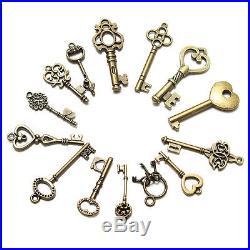 Christmas 14 Antique Vtg old Style Large Santa Claus Skeleton Keys Ornament Lot