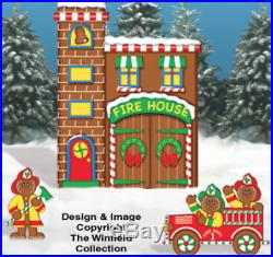 Christmas 3 Piece Gingerbread Firehouse Wood Outdoor Yard Decor Art, Christmas