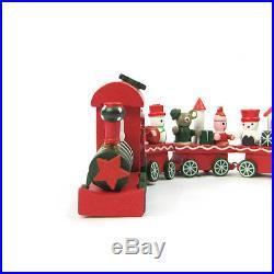 Christmas 4 Piece Wooden Xmas Train Santa Claus Festival Ornament Decor Gift Toy