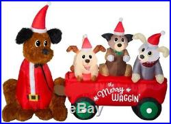 Christmas 7 Ft Santa Wagon Full Of Puppies Dogs Airblown Inflatable Yard Gemmy