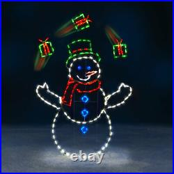 Christmas ANIMATED LED ILLUMINATED 5′ Tall Juggling Snowman Yard Decoration