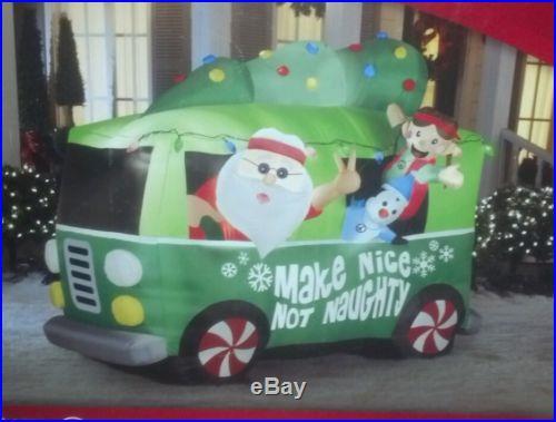 Christmas Air blown Inflatable Santa in Hippie Mobile Van Vehicle New in Box
