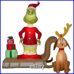 Christmas Airblown Inflatable Grinch & Max Sled Scene Xmas Decor NEW for 2019