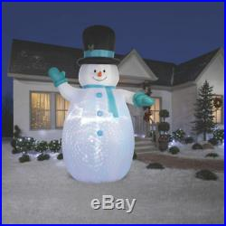 Christmas Airblown Inflatable Happy 12′ Snowman Outdoor Light Up Yard Decoration