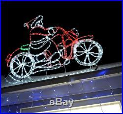 Christmas Animated Santa Claus Riding Motorbike LED Rope Lights Xmas Decoration