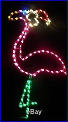 Christmas Beach Pink Flamingo Santa Hat LED Lighted Decoration Steel Wireframe