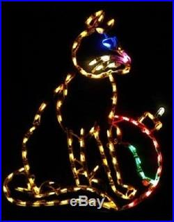 Christmas Cat w Ornament Outdoor LED Lighted Decoration Steel Wireframe