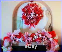 Christmas Deco Mesh LED Lit Candy Cane Wreath & Garland Buy 1 or 2 Piece Set