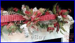 Christmas Decorated Mantel Garland Holiday Swag Country Charm