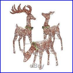 Christmas Decoration Outdoor Yard Decor Lighted Pre Lit 3 Deer Xmas Sculpture