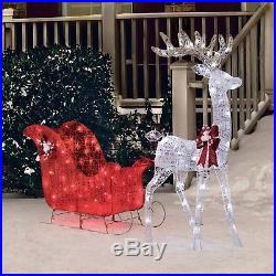 Christmas Decoration Outdoor Yard Decor Pre Lit Deer Santa Sleigh Xmas Sculpture