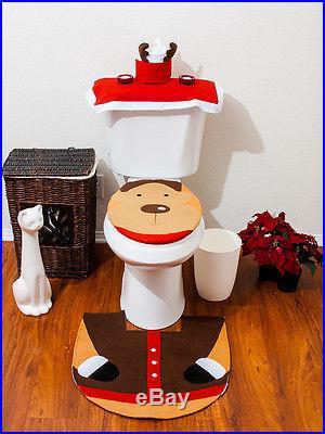 Christmas Decorations Happy Santa Toilet Seat Cover & Rug Bathroom Set Reindeer