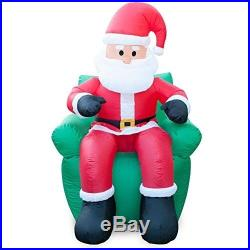 Christmas Decorations Inflatable Santa Claus w Chair Xmas Outdoor Home Decor