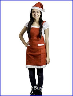 Christmas Decorations Mrs Santa Holiday Costume Kitchen Bib Red Apron with Hat