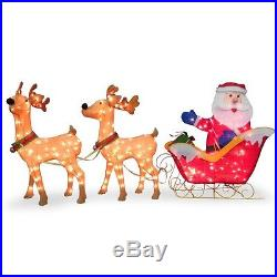 Christmas Deer Sleigh Santa Claus Decoration Xmas Home Party Outdoor Yard Decor