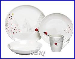 Christmas Dinnerware Set 32-Pcs Holiday Dinner Plates Santa Table Serving Winter