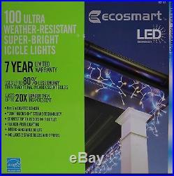 Christmas Ecosmart 100 LED Warm White/Blue Super Bright Icicle Lights NIB