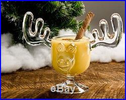 Christmas Eggnog Moose Mugs Gift Boxed Set of 2 Safer Than Glass New