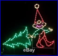 Christmas Elf Pulling Xmas Tree Outdoor LED Lighted Decoration Steel Wireframe