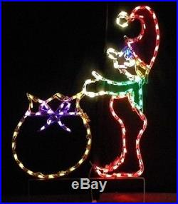 Christmas Elf with Gift Bag Xmas Outdoor LED Lighted Decoration Steel Wireframe