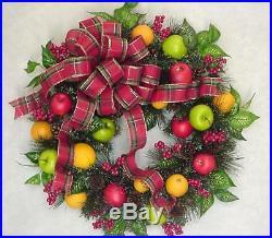 Christmas Fruit 2018 Williamsburg Holiday Farmhouse Plaid Checked Bow Wreath