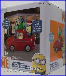 Christmas Gemmy 8 ft Wide Light Up Minions Car Scene Airblown Inflatable