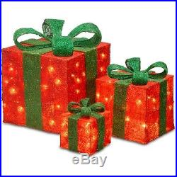 Christmas Gift Boxes 3 Piece With Clear Lights House Decoration Xmas Holiday