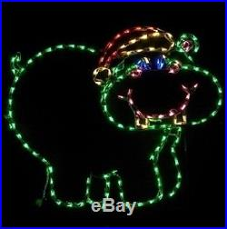 Christmas Happy Hippo Xmas Santa Hat LED Lighted Decoration Steel Wireframe