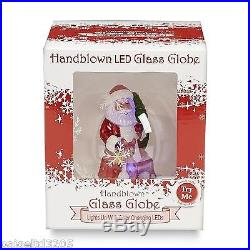 Christmas Holiday Handblown LED Lights Changing Colors Glass Globe Santa Claus