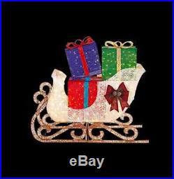 Christmas Holiday Outdoor Yard Decor Jumbo Sleigh Gift Boxes Presents LED Lights